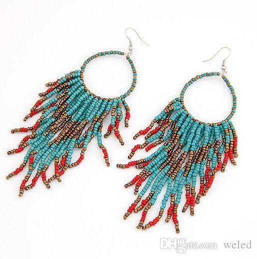 Böhmische Perlen Lange Quaste Baumeln Ohrringe Für Frauen Schmuck Multicolor Perlen Erklärung Ethnische Ohrringe 6 Farben