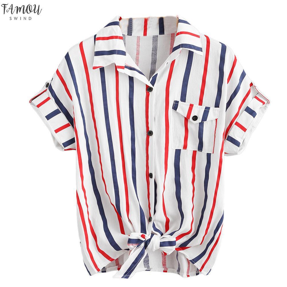 2020 Высокое Качество Новые Женщины Мода Сексуальная Повседневная Белый Синий S M L Xl С Коротким Рукавом Полосатая Рубашка Блузка