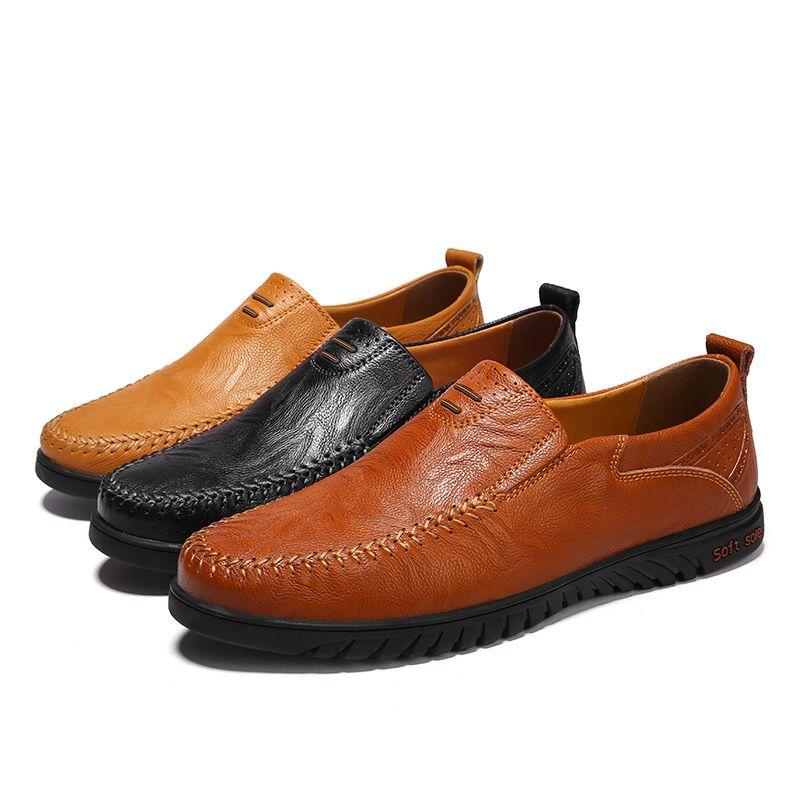 Uomini Genuine Leather scarpe casuali di lusso Designer Mens Mocassini slittamento respirabile sui pattini più il formato 37-47 di guida