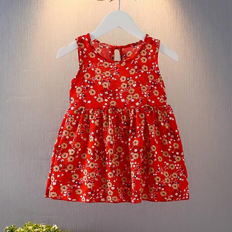 Kid Dress Sem Manga Floral impressão com falhas esculpida Clássico projeto redondo do laço Neck vestido de verão Vest