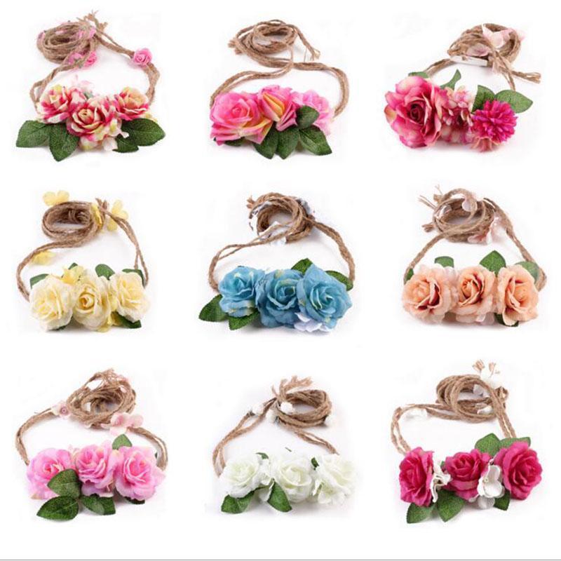 Baby Rose Blumengirlanden Angepasst Hanf-Seil-Stirnband-Blumenhoch Braut Kopfschmuck Mädchen-Prinzessin Kinder Strand Haarschmuck