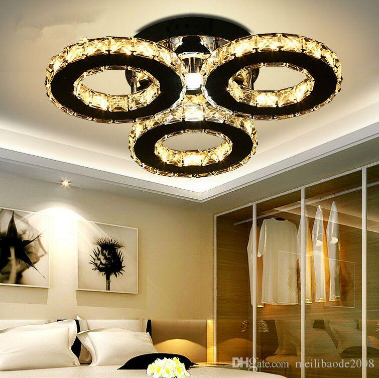 Modern Crystal Rings Ceiling Lights Lamp Ceiling Luminaire Plafonnier for Living Room Led Lustres Indoor Home Decor Lights MYY