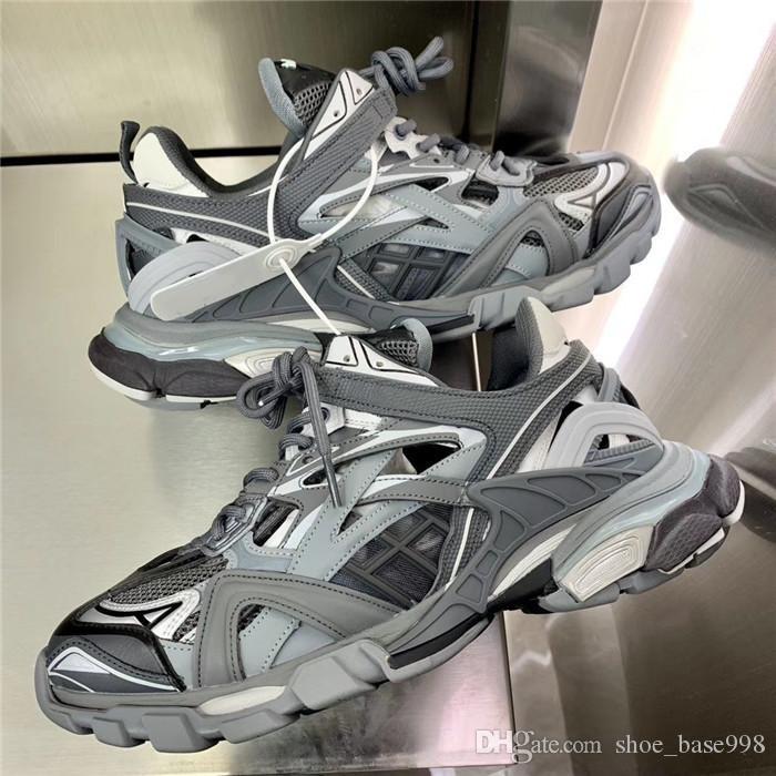 Pattini a tre S Sneakers vecchio papà, Pelle Basso Top Triple-S lucidato e Mesh Sneakers per le donne gli uomini causale scarpe dimensioni 36-45