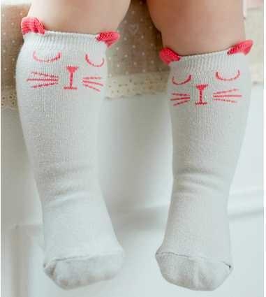 Pamuk Bebek Çorap Hayvan Baskılı Diz Yüksek Çocuklar Erkek Kız Çorap Anti Kayma Karikatür Kedi Bacak Isıtıcıları 0-2 Y