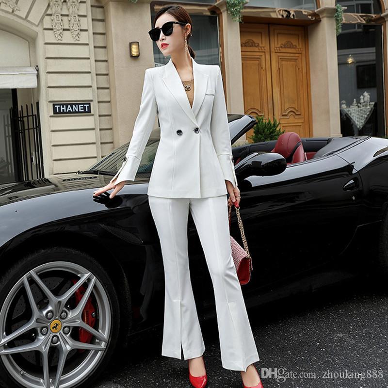 사용자 정의 가을 새로운 여성 정장 패션 단색 정장 비즈니스 사무실 드레스 기질 슬림 투피스 정장 (코트 + 바지)