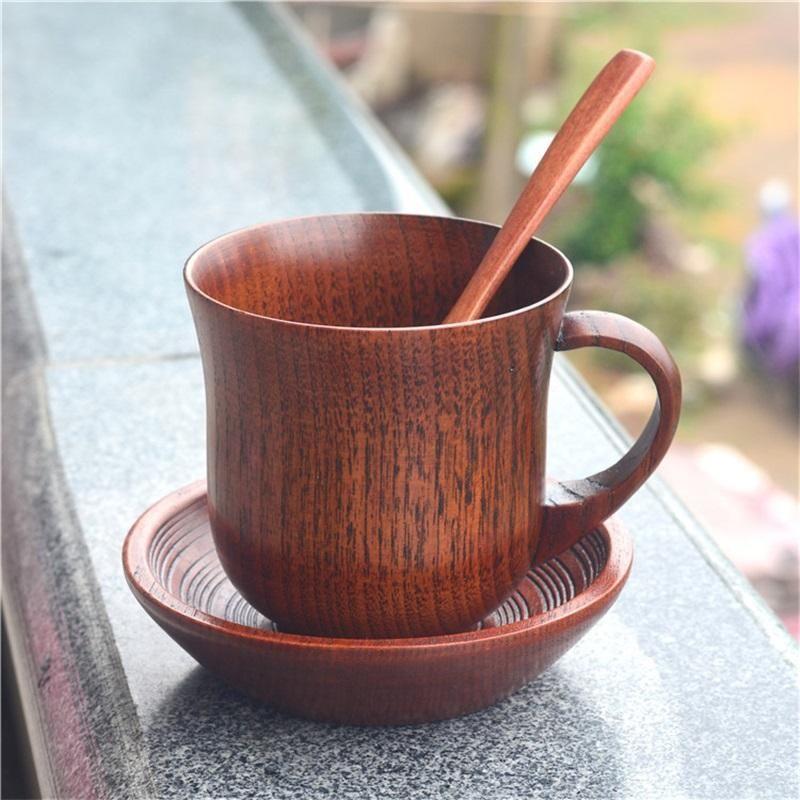 Малая деревянная чашка восхитительная кружка кофе молока чая Eco Содружественный тумблер ретро сопротивление к падению классическому имеет ручки 24 99tbb1