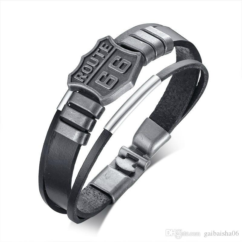 Ancient Silver Men's Leather Bracelet Route 66 USA Will Rogers Highway Sign Fashion Male Wristband Gifts