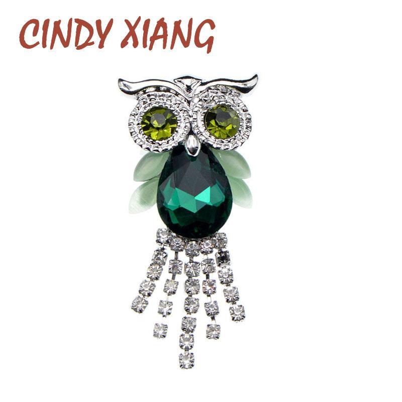 CINDY Xiang Verdes Cor Coruja Broches para mulheres Rhinestone Tassel Pin animal Design de Moda jóias de alta qualidade Nova 2020