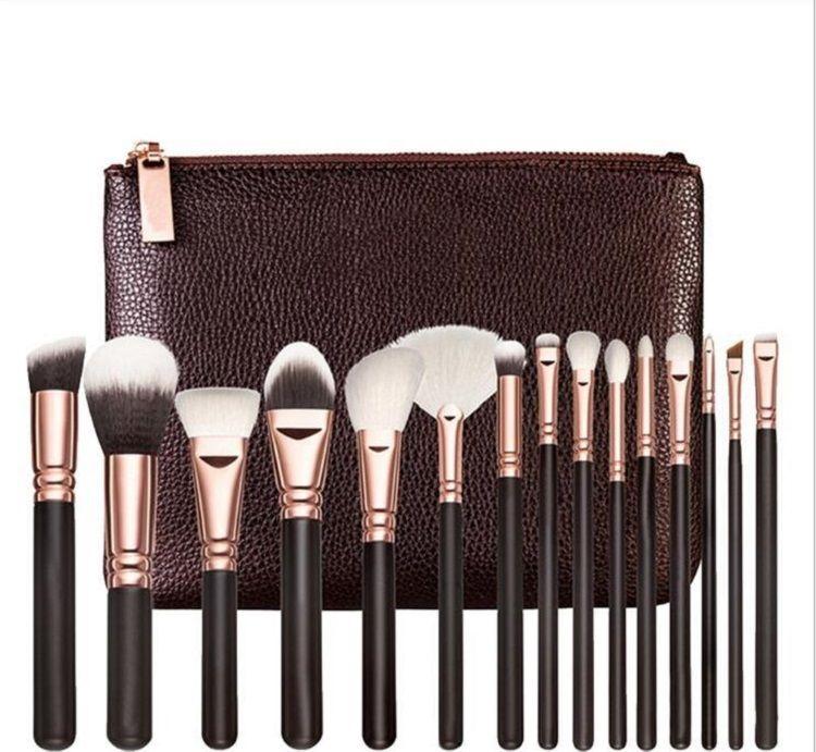 Marca de alta calidad de cepillo del maquillaje 15PCS / Set cepillo con PU bolsa profesional del cepillo para el polvo de sombra de ojos Fundación Blush