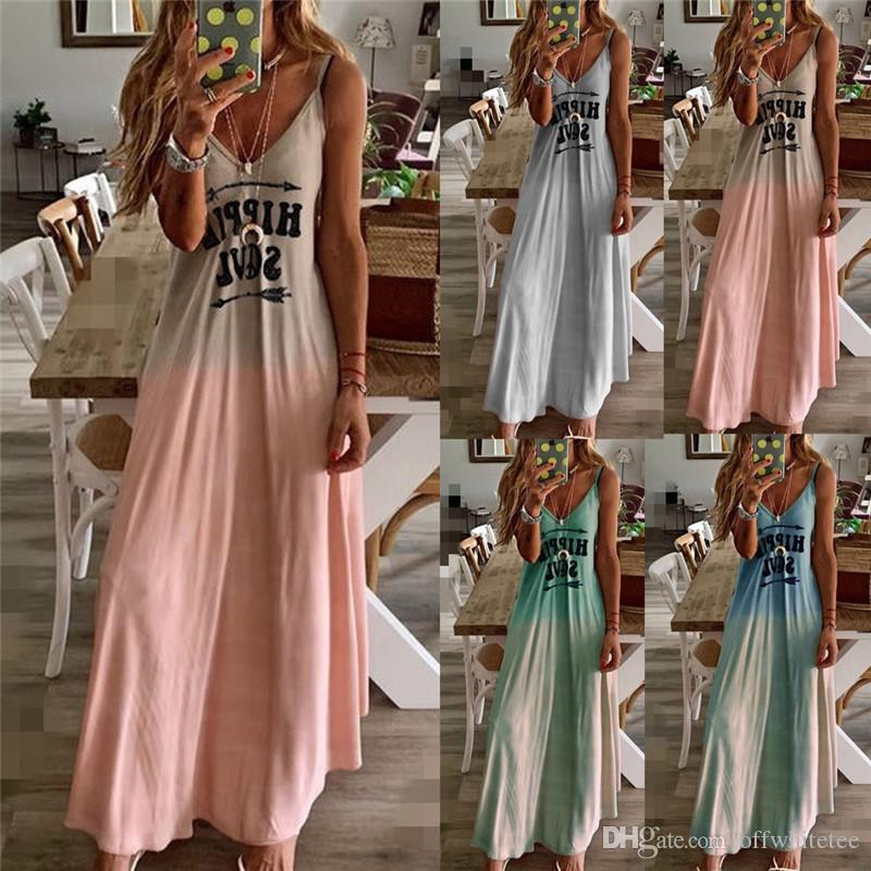 Sexy Magro Designer mulheres vestidos Gradiente de cor letra impressa Sling Casual mangas V das mulheres Vestidos Moda Pescoço