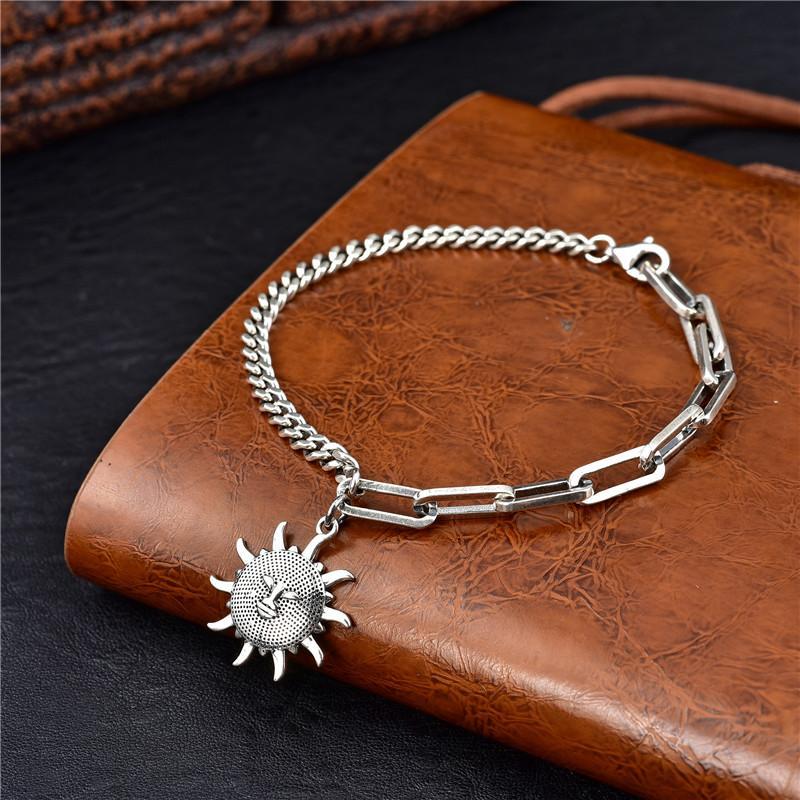 Versione coreana 100% argento sterling S925 Thai argento sole dio ciondolo bracciale signore prata925 gioielli di moda
