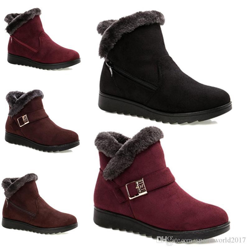 2020 Non-femmes Marque d'hiver Livraison gratuite bottes de neige Triple Noir Vin rouge brun de bottines en daim Chaussures mère Gardez chaud 36-40 style 41