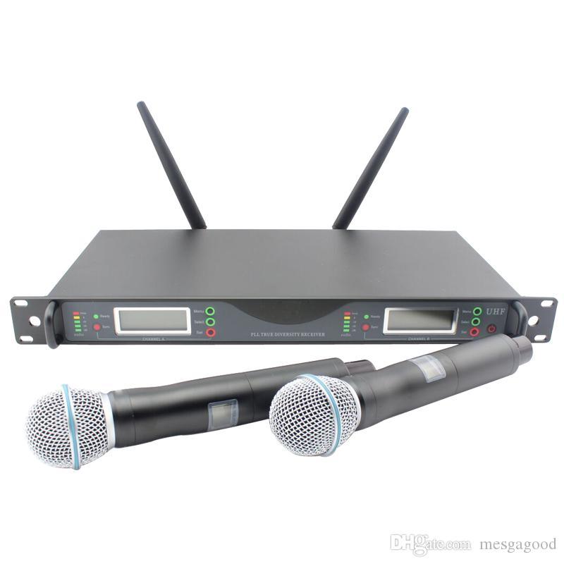 Calidad superior para el escenario !! UR24D PLL TRUE DIVERSITY Sistema de micrófono dinámico inalámbrico UHF con micrófono inalámbrico de mano dual
