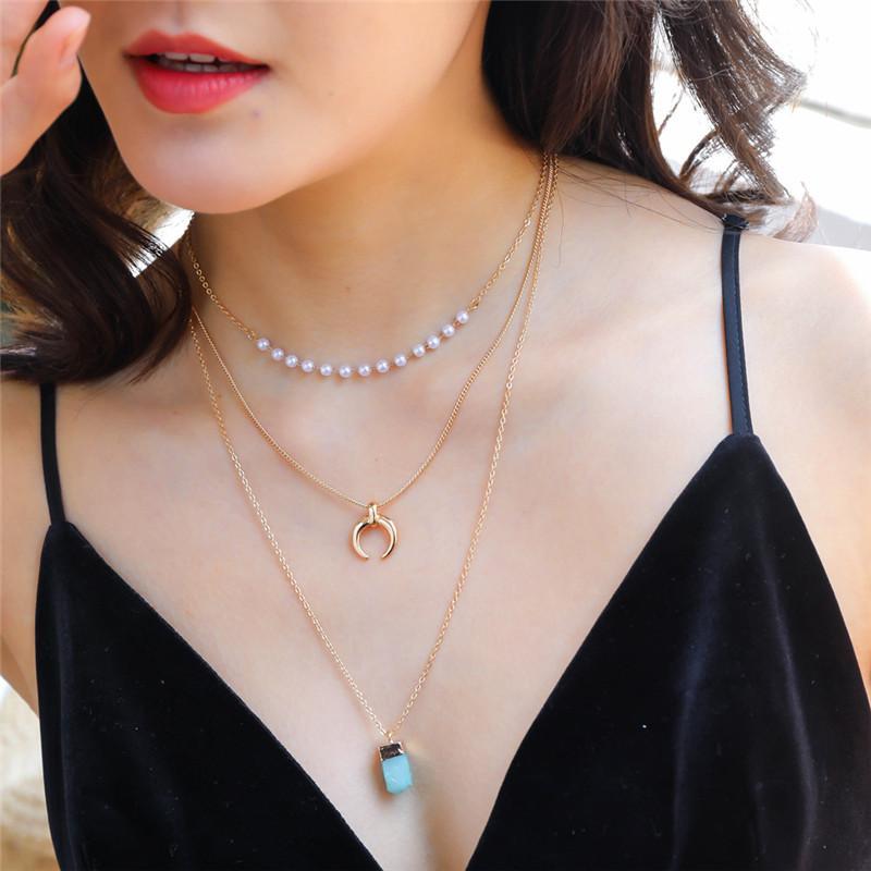 Bohemian Mond Halsketten-Anhänger für Weinlese-mehrschichtiges Halskette Troddelfrauen Kette Perlenschmuck 2020 neue Art und Weise
