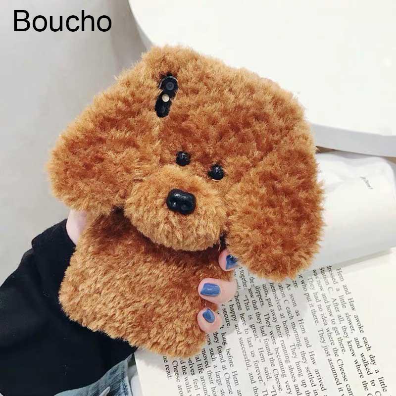 Neue Winter-Teddy Hund Fluffy Telefon-Kasten für iPhone 11 Pro XS Max XR Rabbit Fur Warm-Abdeckung für iPhone 8 8plus 7 7plus 6 / 6s Plus X