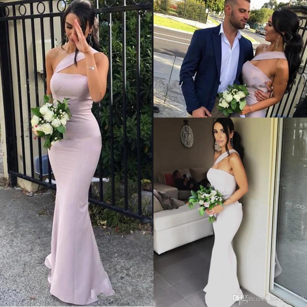 2020 новое прибытие Русалка платья невесты для свадеб атласное одно плечо рукавов длина пола плюс размер формальные платья фрейлины