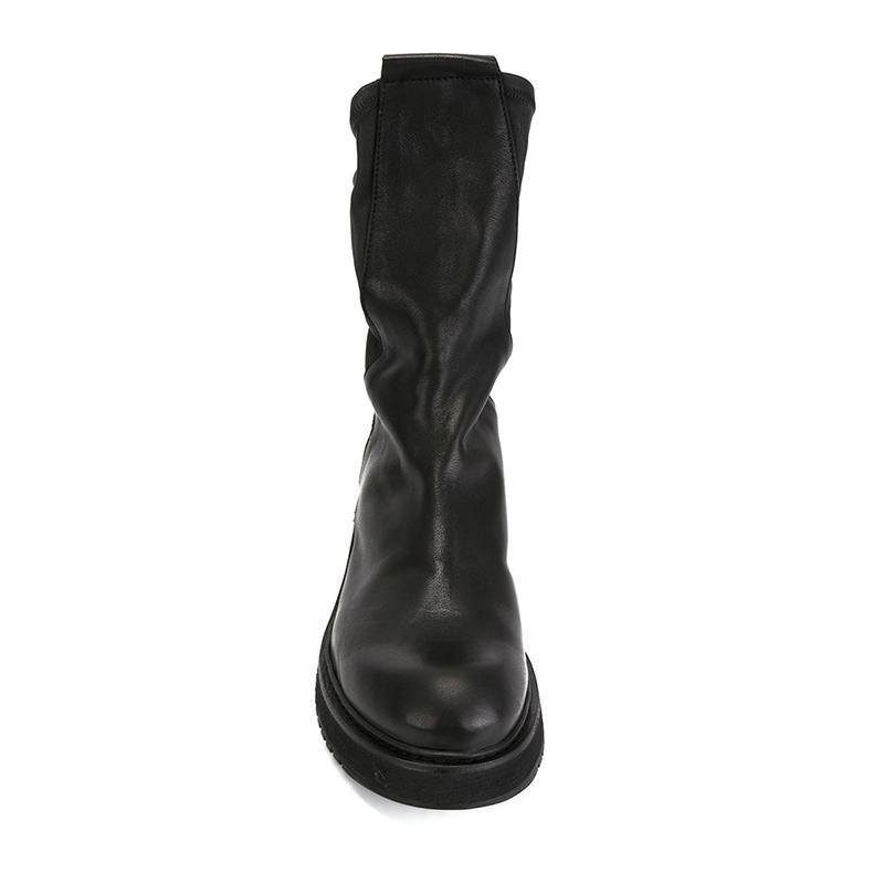 Горячие Продажа-Британский Стиль Мужчины Мартин пинетки Высокая верхняя кожа коровы Hlaf Boots Vintage Fashion Загрузочный Мужской