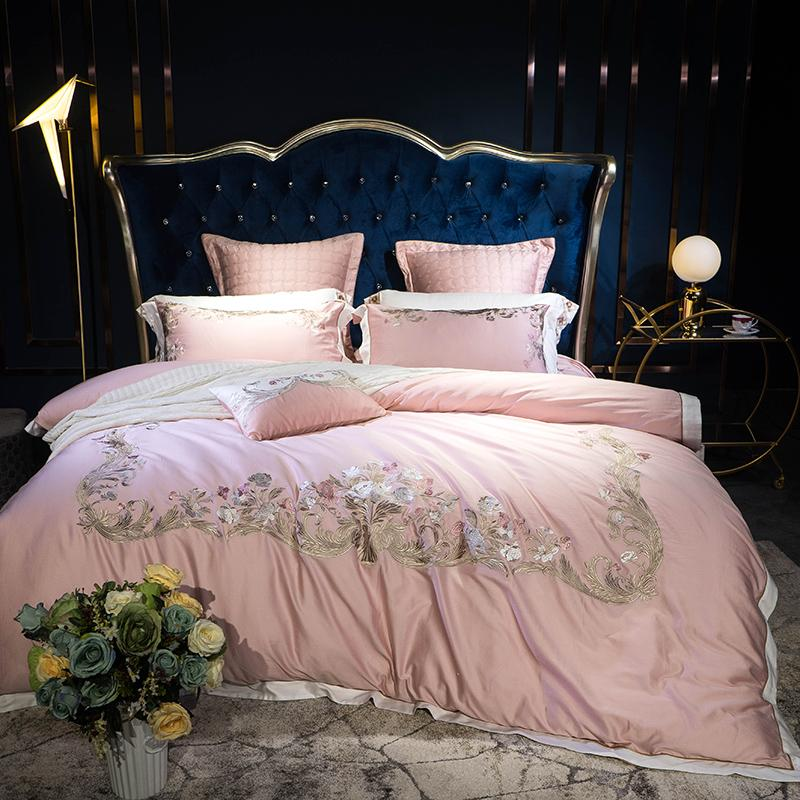 Nuevo 4 / funda de almohada de algodón egipcio 7Pcs sábana funda de edredón conjunto cama del lecho de la reina rey bordado para el regalo