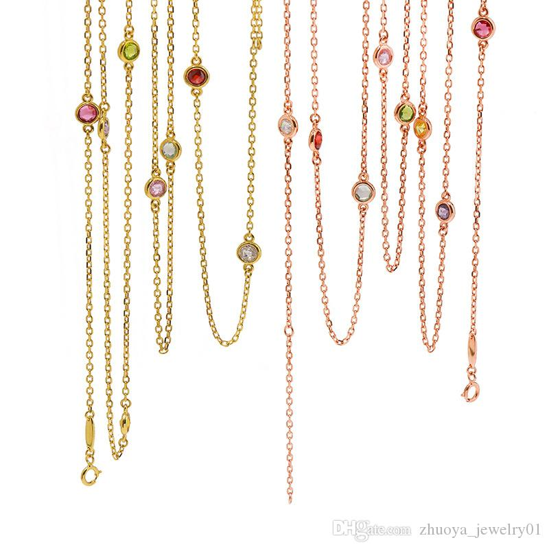 Simple coloured gemstone geomantic crystal sweater chain long chain woman designer luxury necklaces cuban link chain