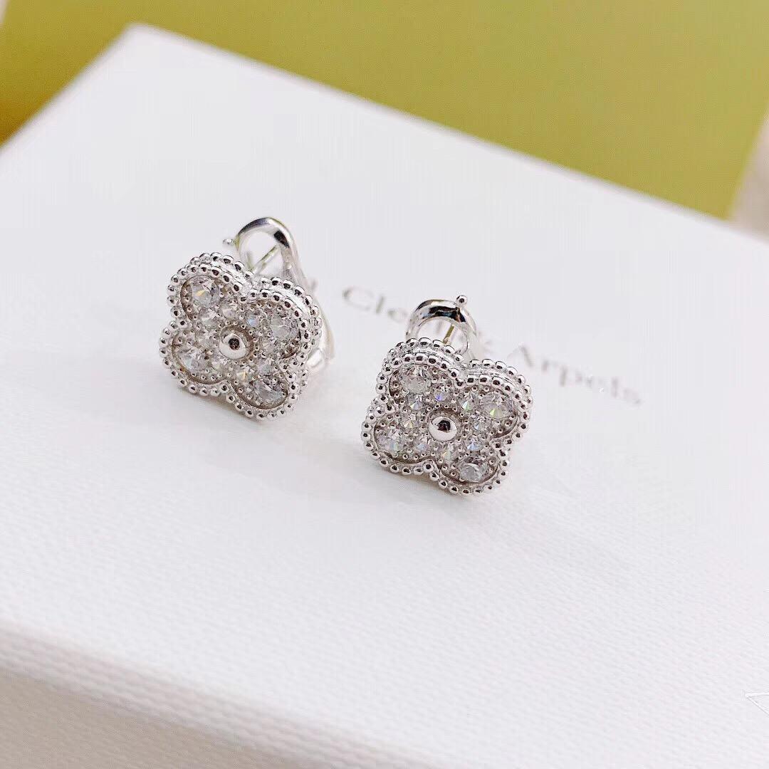Fashion-S925 Pure Silver 3pcs Flower Boucle d'oreille Collier et bracelet avec tous les diamants pour femmes et ma mère bijoux cadeau vintage ps7211-3