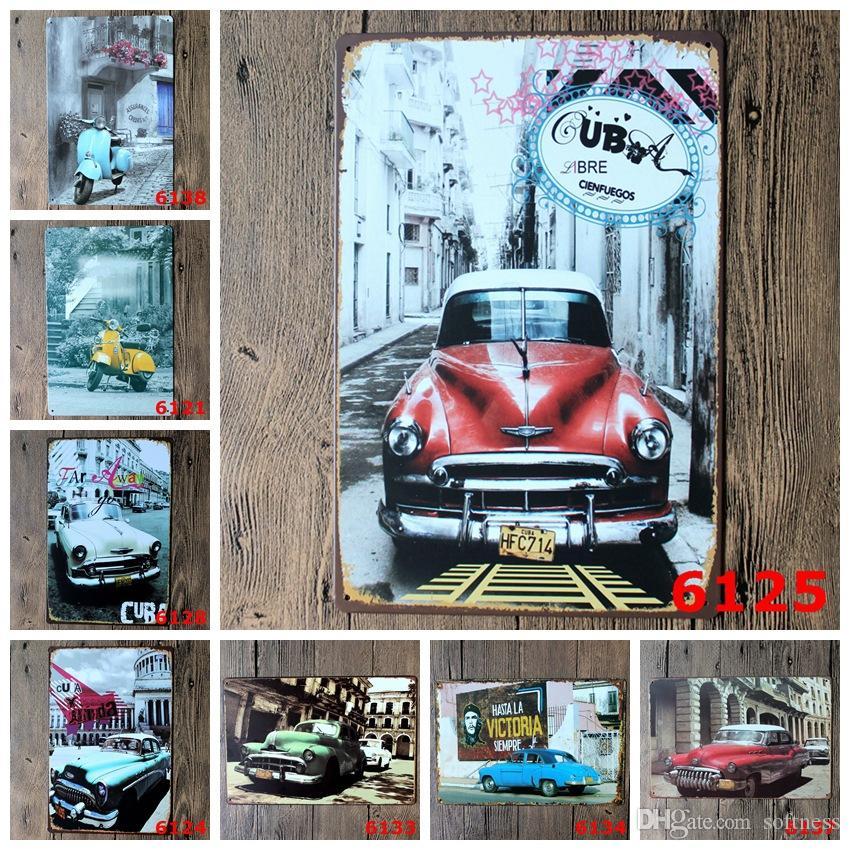 모터 자동차 도시 빈티지 공예 주석 로그인 레트로 금속 포스터 바, 펍 징후 벽 예술 스티커 (혼합 디자인)