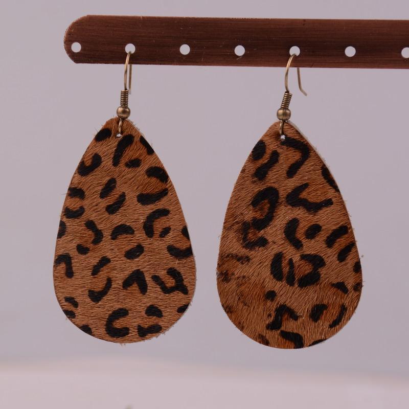 Rainbery ouro leopardo lágrima brincos de declaração de couro real para as mulheres marca de jóias gota de água oscila brincos