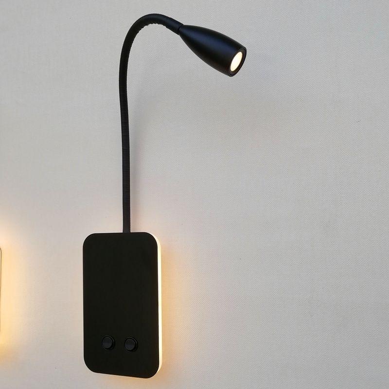 Topoch Başucu Duvar Aplikleri İkili Anahtarlı Lamba Arka Işık 6W Esnek Okuma Işık 3W ile Bağımsız Çalışma Led Beyaz / Siyah