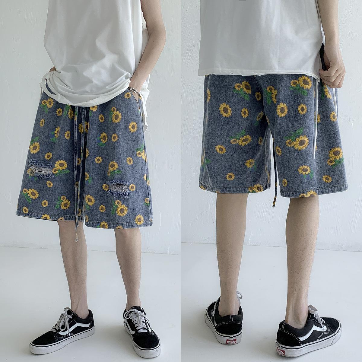 dx6RF Ins женщин подсолнечника рваные корейский для мужчин летом напечатанной пару и джинсовой стиле рыхлых шнуровкой и шорты шорты