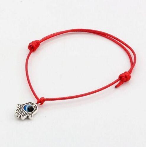 Повезло Хамса рука строка сглаза повезло Красный воск шнур регулируемый браслет для женщин мужчины веревка цепи Красные браслеты