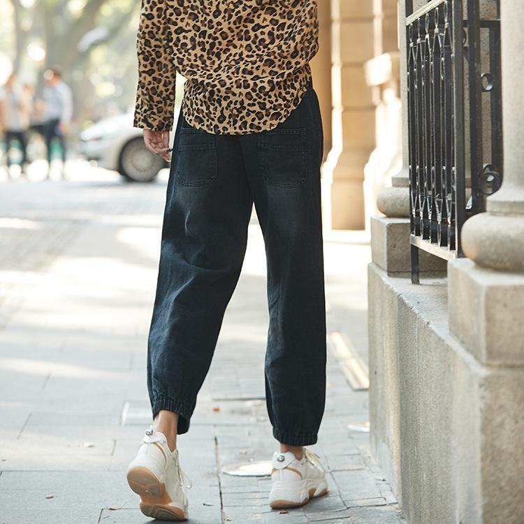 2020 Pantalon mode printemps pour les femmes avec un pantalon de maman taille élastique noir en vrac Jeans Femme