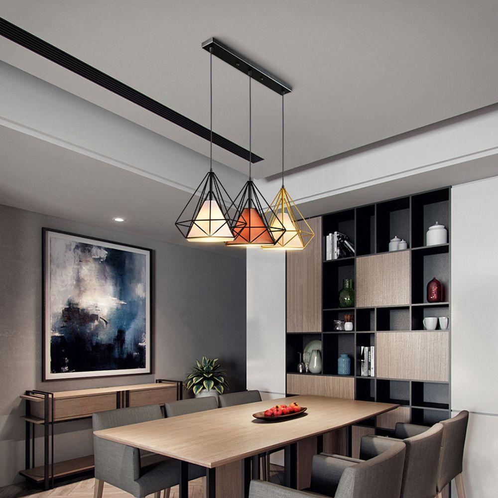 Nordic Lustre salle à manger restaurant Lampes Loft diamant Lustres Luminaires de plafond suspendu Lampe d'intérieur decration