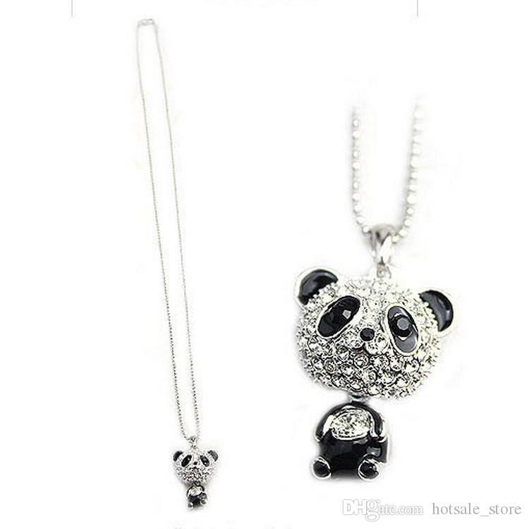 Really nice!Shiny PANDA necklace!!shiny rhinestone super charm panda necklace jewelry Cute awesome panda pendant necklaces wholesale