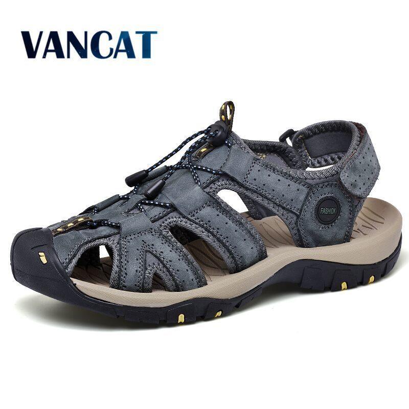 2020 morbida spiaggia Sandali estate nuovi uomini di modo di caduta di vibrazione confortevole Genuine Leather Sandals esterno degli uomini i sandali romani Size 49 MX200617