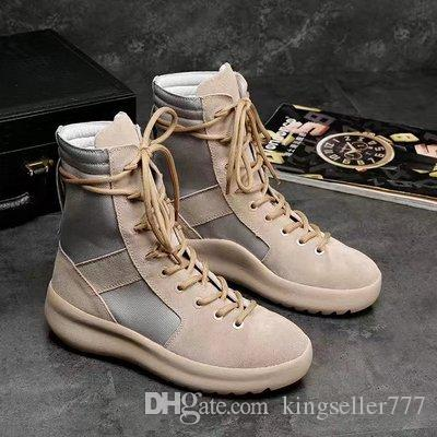 hot KANYE Brand high boots Best Quality Fear of God Top Military Sneakers Hight Army Boots Men and Women Fashion Shoes Martin Boots 38-45
