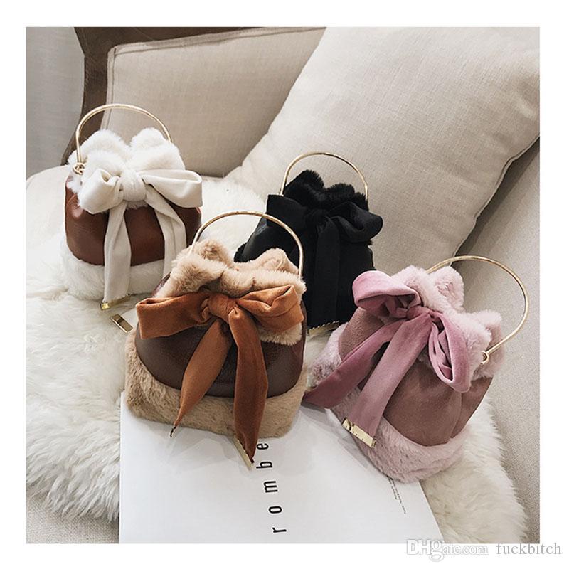 Presente do Dia dos namorados de Presente de Moda de Inverno Balde Sacos de Lindo Arco Nó Totes para As Mulheres de Pelúcia Mini Sacos de Ombro