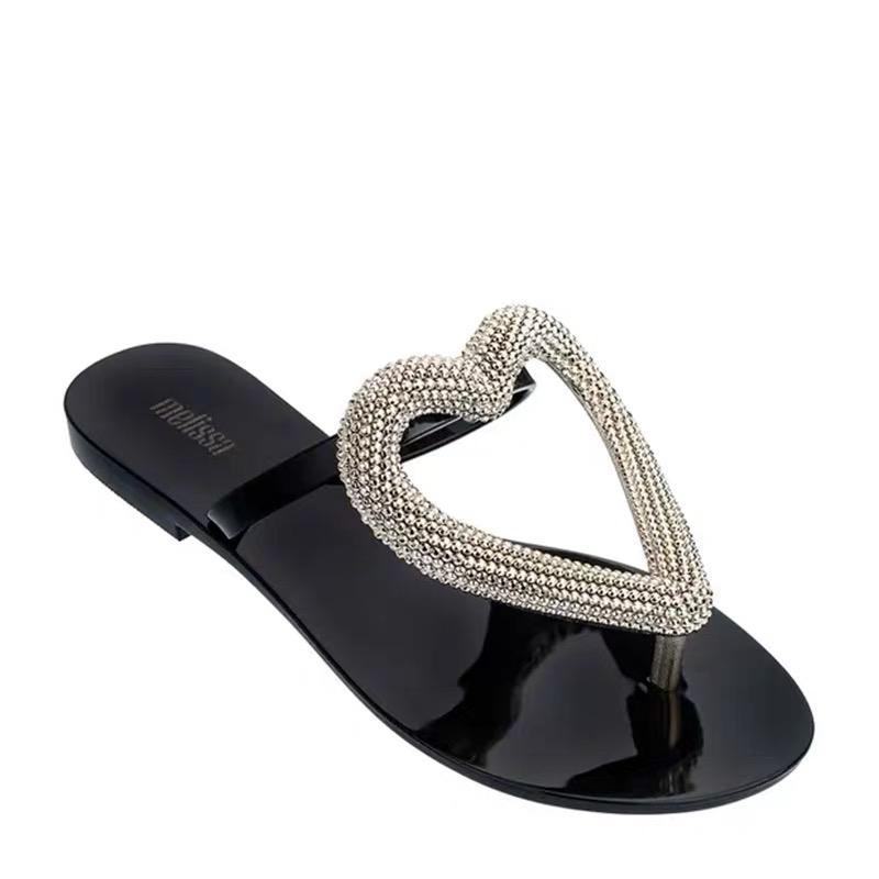 Flip Flop Big praia coração Shoes 2019 Mulheres Plano Sandálias sapatos para as mulheres Jelly Sandals Feminino Jelly