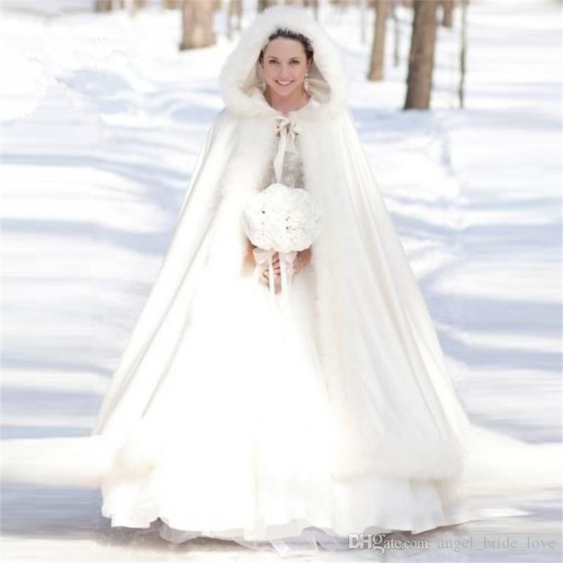2019 Zarif Beyaz Sıcak Gelin Cape Kış Kürk Kadın Ceket Gelin Kat Uzunluk Pelerinler Uzun Parti Düğün Ceket AL82