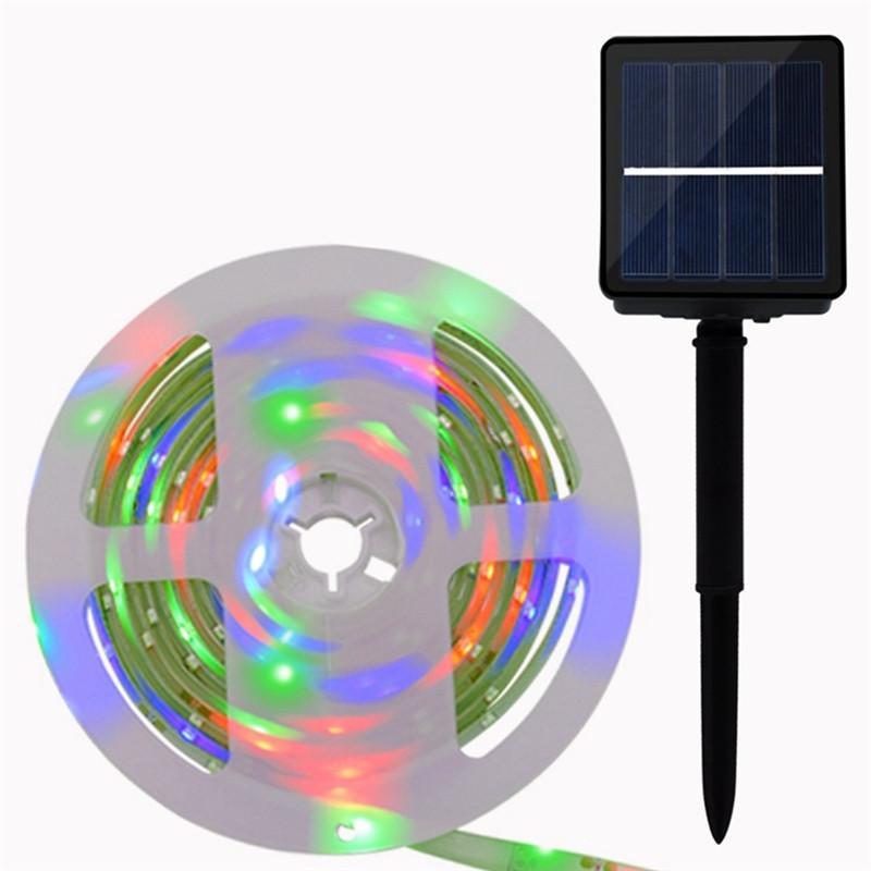 Accionada solar LED Franja SMD2835 8 modos RGB impermeable IP65 LED solar Inicio Yard día de fiesta de Gaza DC2V Luz