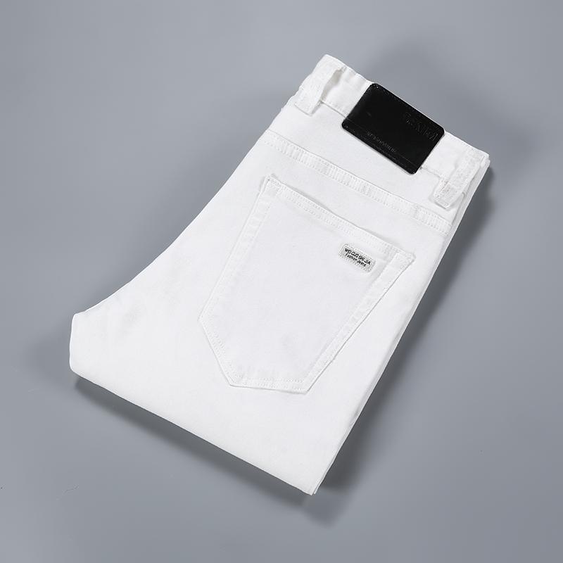 2019 hommes en coton blanc slim droites hommes casual stretch jeans skinny coupe droite pantalon blanc pantalon de couleurs unis jeans