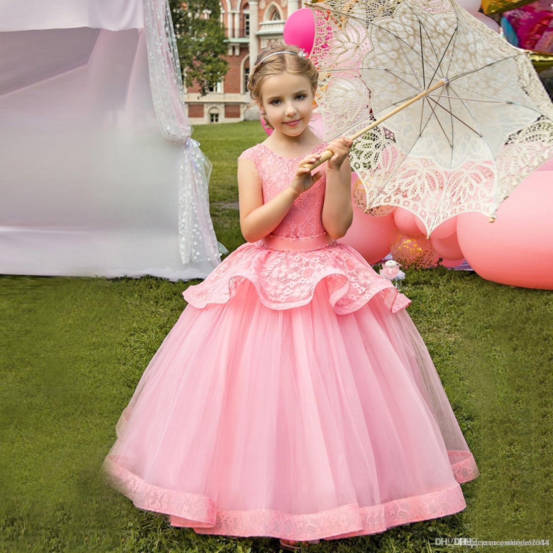 Цветочница платья без рукавов пухлые Jewel шеи маленькие девочки День Рождения платье длиной до пола девушки Принцесса платье для партии 53245