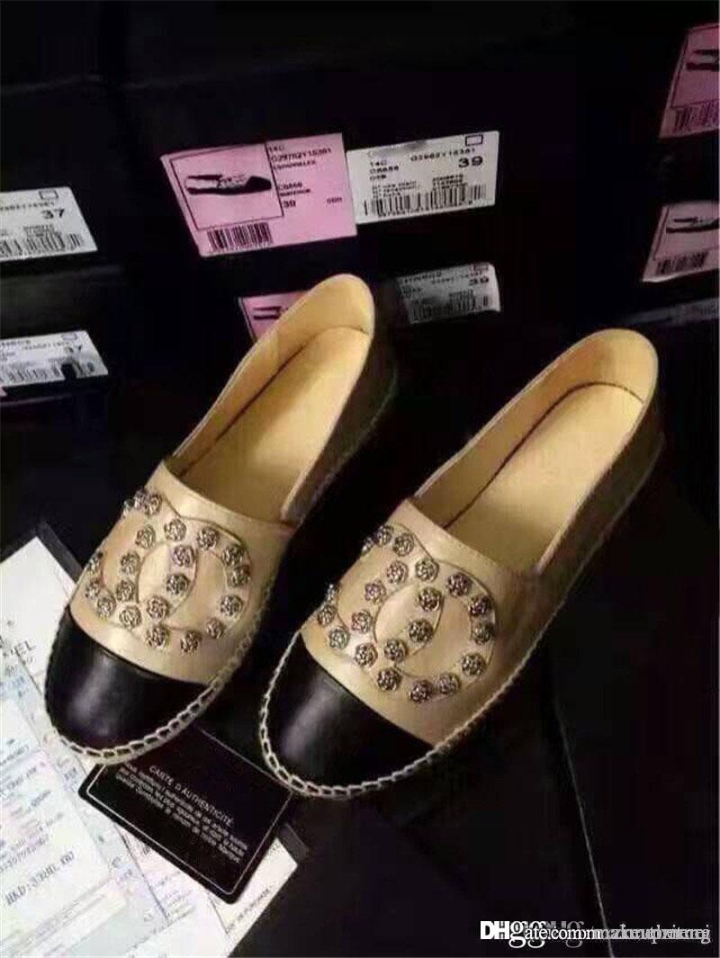 2019 Beige / Schwarz Suede Cap Toe Espadrilles Pearl 'C'NewShoes mit ursprünglichem Kasten