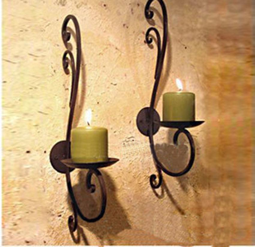 Hierro titular de la vela la decoración del hogar de la vela de metal de pie final de la pared de la vendimia montaje palillo de la vela entrada Home Accents plana de hierro SH190924