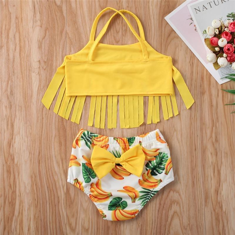 Traje 12M-5Y cabritos del niño de la niña de baño bikini borla Tops Swi plátano cortos beachwear Equipos ropa de la muchacha 2Pcs del Infantil