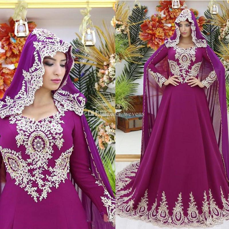 Fuchsia A-line Muslim Wedding Dresses V-neck Long Sleeve with Gold Appliques Beading Sequined Abric Bridal Gown Church Wedding Wears