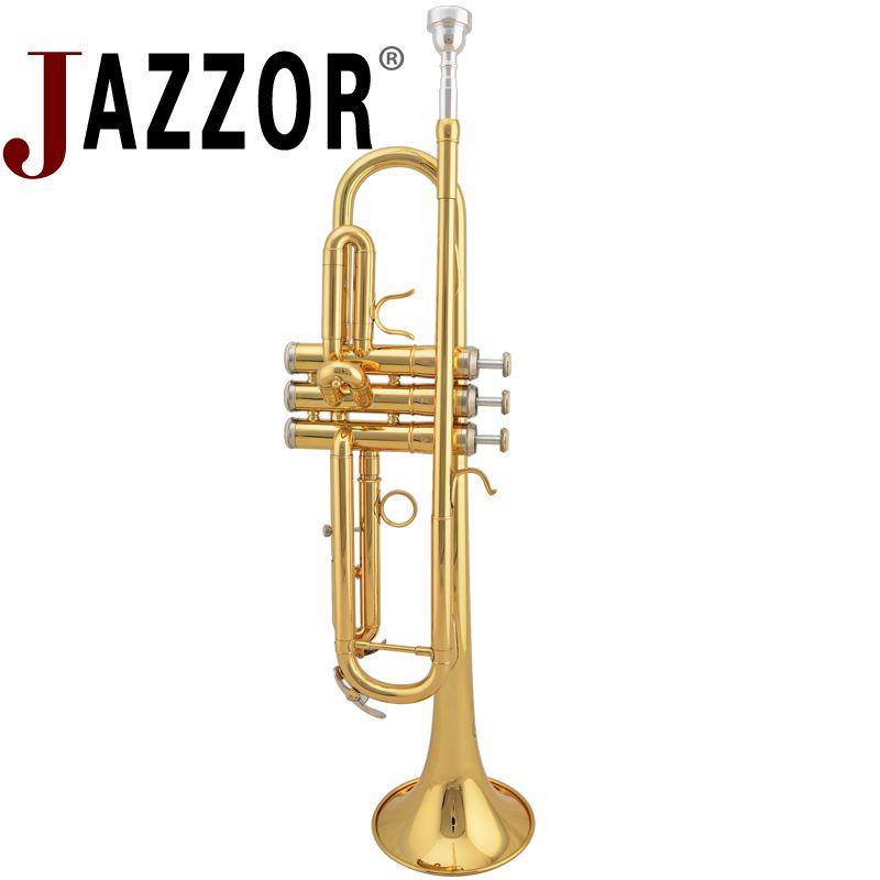 JAZZOR JZTR-300 B flache Goldlacktrompete Blechblasinstrumente mit Etui und Mundstück