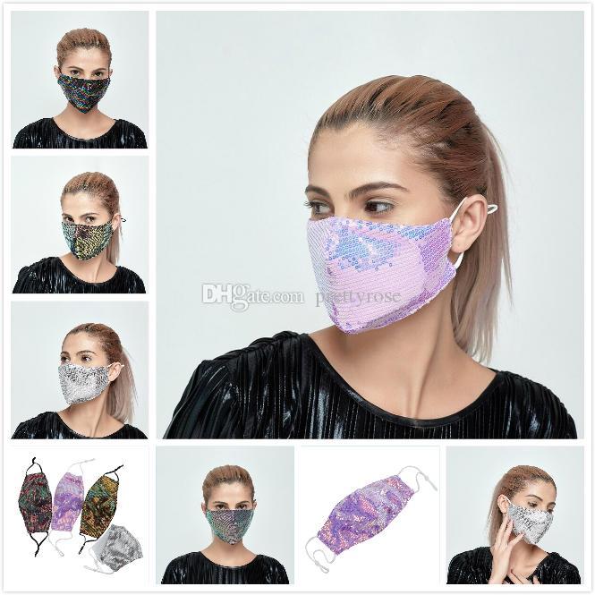 Máscara de la moda de Bling Bling de la lentejuela de la cara de primavera y verano al aire libre Suncreen Anti-polvo respirable de la mascarilla lavable reutilizable 6 colores