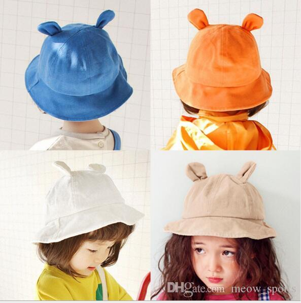 Child Cute Bear Ear Fisherman's Caps Spring and Summer Sunshade Hat Trend Hat Fisherman hats flat top for children's ball hats