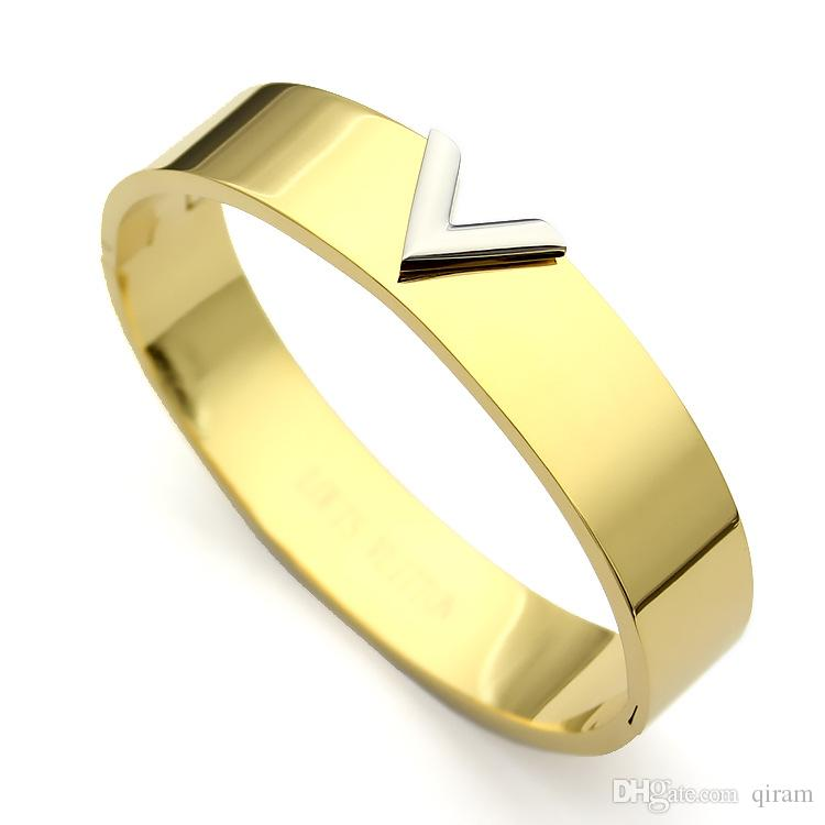 2019 New Hot brand name titanium steel V letter Bracelet for woman jewelry Fashion brand love Bracelet&Bangles gold/silver rose color gift