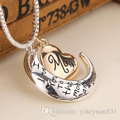 2019 joyería de la alta calidad del corazón te amo a la joyería Día collar colgante de luna y de regreso madre de la mamá regalo al por mayor de moda ZJ-0903221
