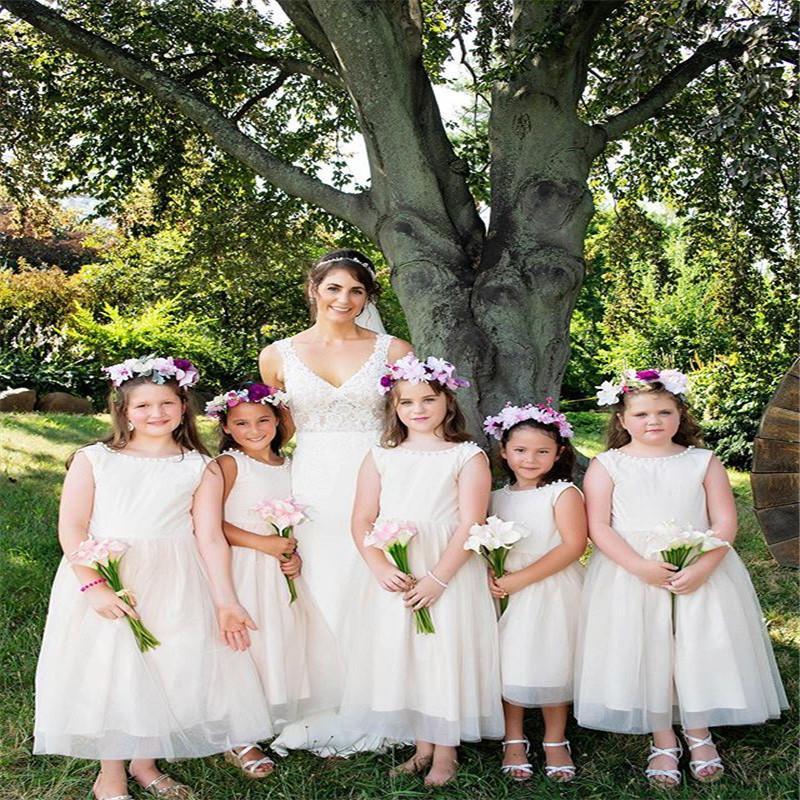 Lovely Jewel Aline Tea Length Tulle Flower Girls Dresses For Wedding Girls Pageant Dresses Formal Gowns
